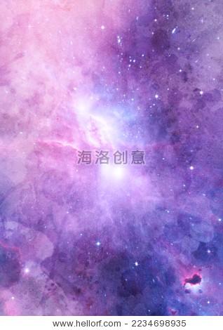 紫色星球清新梦幻水彩星空云层浪漫抽象天空背景