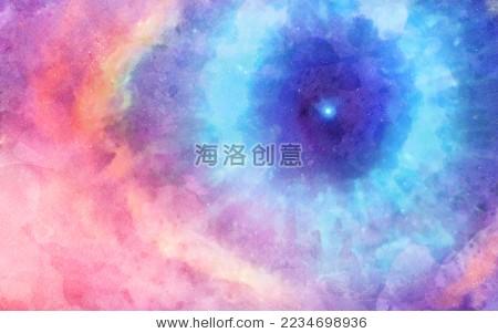 彩虹色清新梦幻水彩星空云层浪漫抽象天空背景