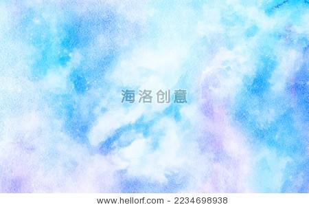蓝色系色清新梦幻水彩星空云层浪漫抽象天空背景