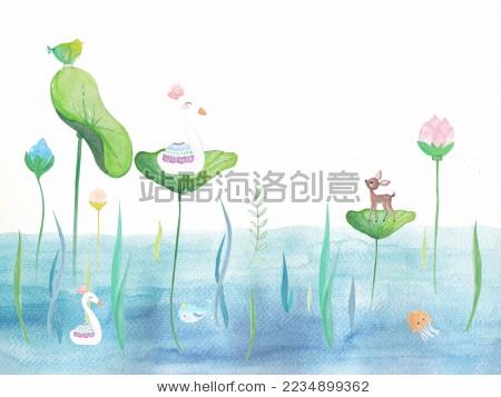水彩手绘插画梦幻奇思妙想小熊小兔小鸟分层儿童可爱卡通