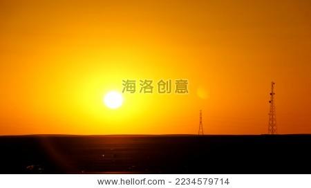 夕阳中的信号塔-自然-海洛创意(hellorf)-中国独家