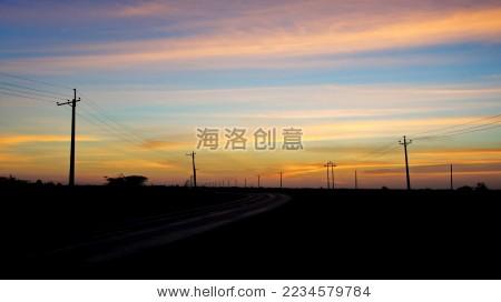 晨曦中的电线杆 - 自然 - 站酷海洛创意正版图片,视频图片