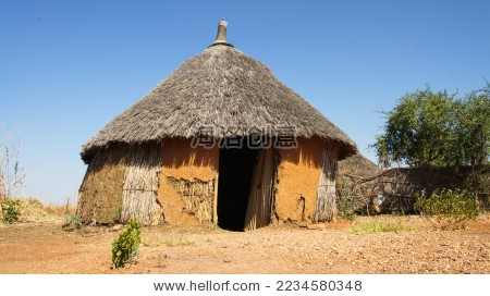 苏丹南部土著居民的茅草房-建筑物/地标-海洛创意()