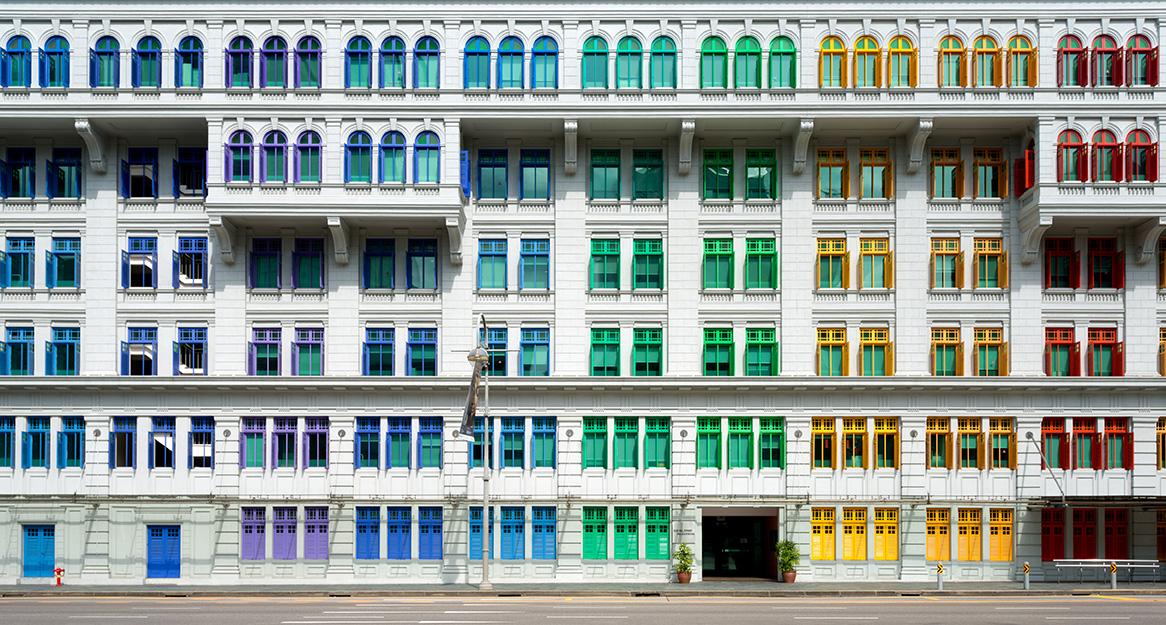 Colourful window shutters of the MICA building near Clark Quay, Singapore Chris Howey